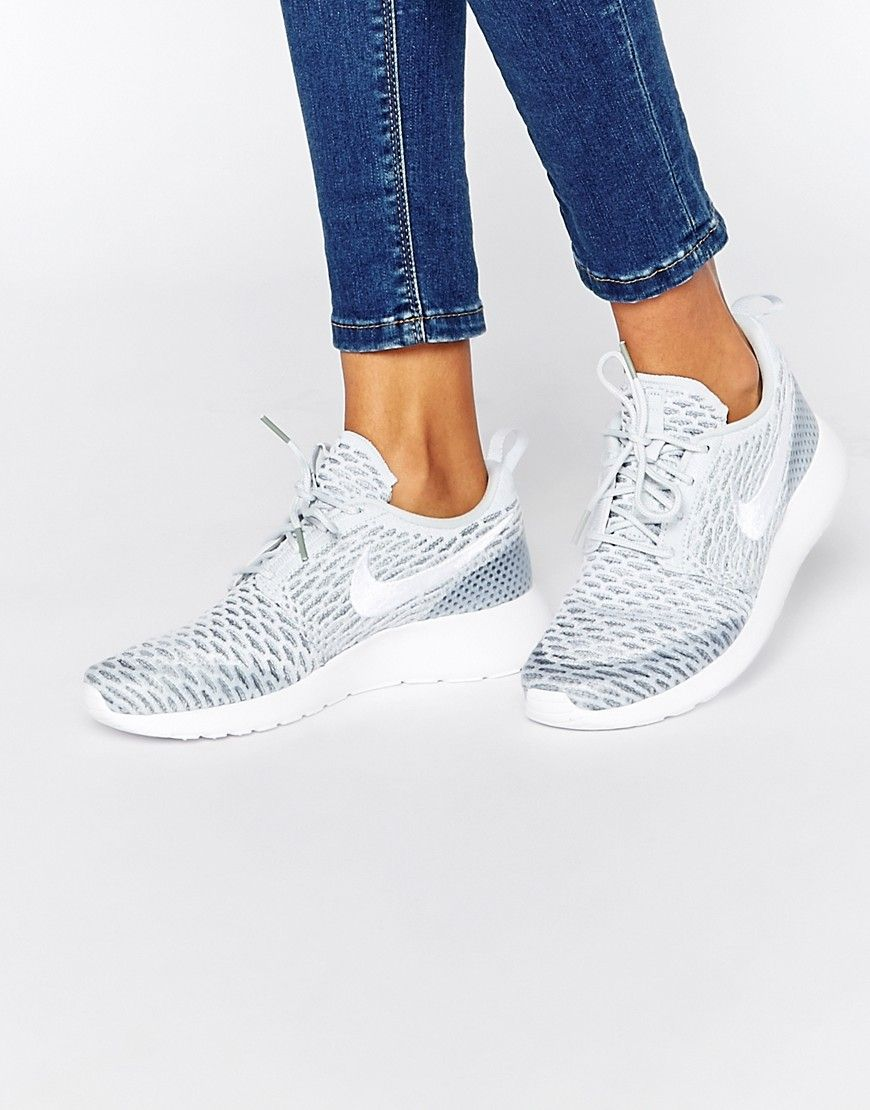 Image 1 of Nike Roshe Platinum White Fly Knit Trainers  abaa80bcde