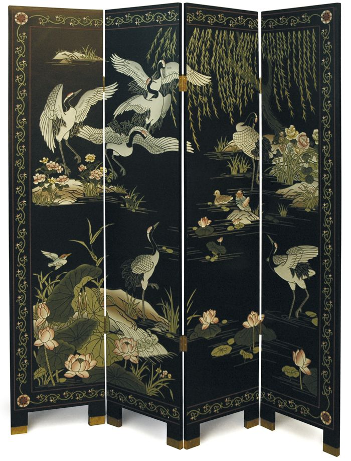 "4 Panel ""Cranes"" Chinese Lacquer Screen Room Divider"