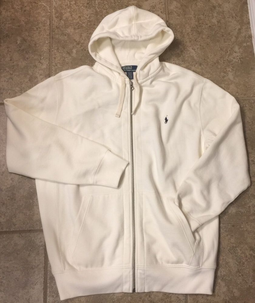 Polo Ralph Lauren Men's XL TALL Cream Colored Full Zip Hoodie ...