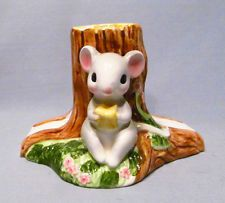 Josef Originals White Mouse with Cheese Wedge Ceramic Napkin Letter Holder