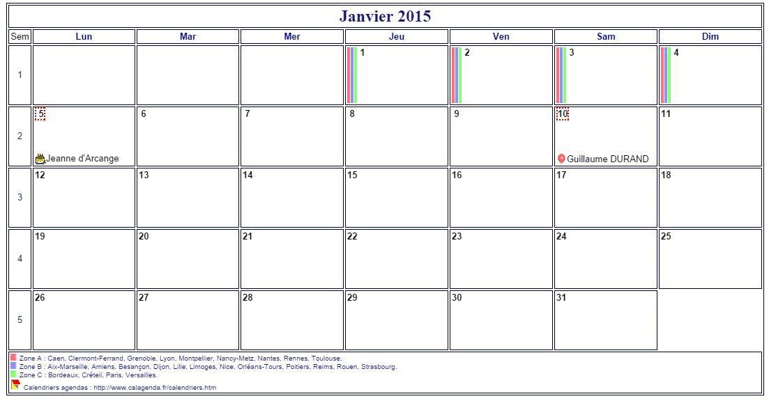 Calendrier mensuel, agenda détaillé, format paysage, sans les - format for an agenda