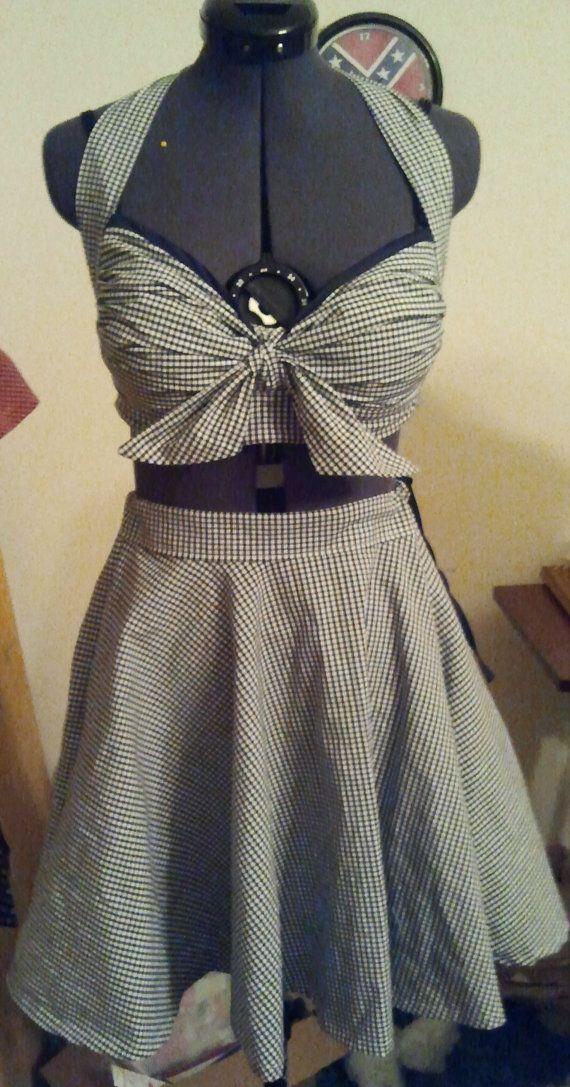 Rockabilly Pinup Custom made 50s Halter Top and Circle Skirt