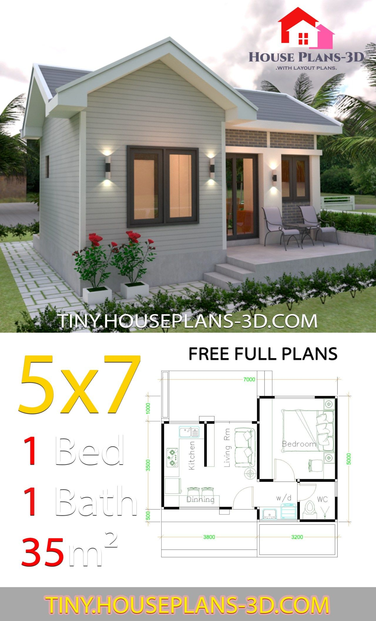 Small House Design Plans 5x7 With One Bedroom Gable Roof Tiny House Plans Guest House Plans One Bedroom House Plans Small House Design Plans