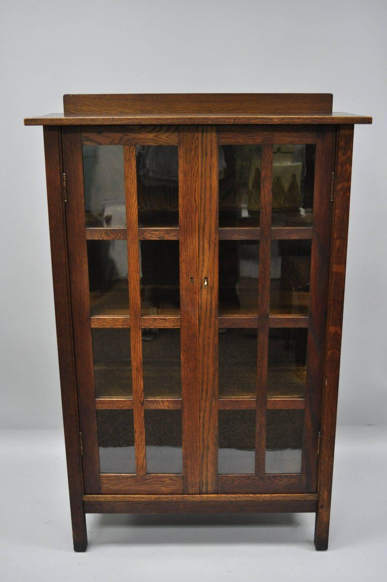 Gustav Stickley Mission Arts Crafts Oak Glass Door China Cabinet Curio Bookcase Stickley American Craftsmanship China Cabinet