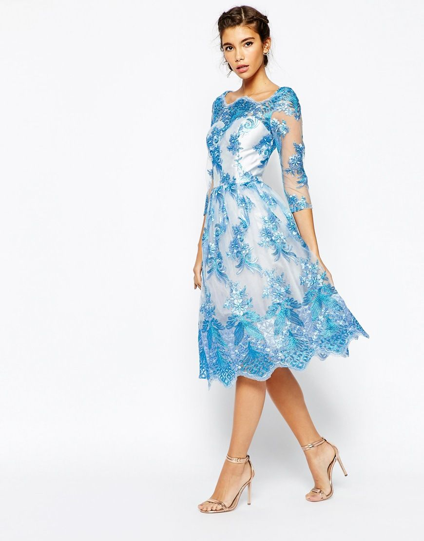 Chi Chi London Premium Lace Midi Prom Dress With Bardot Neck And 3 ...
