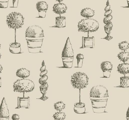 W0032//01 Topiary design wallpaper in charcoal by Clarke /& Clarke
