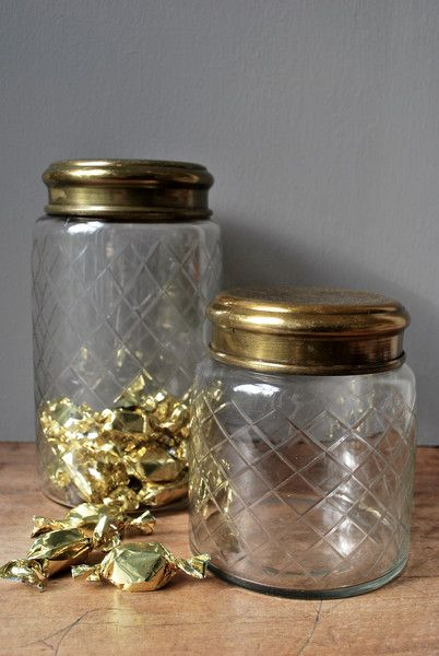 Love these etched glass jars with brass lids for almost anything