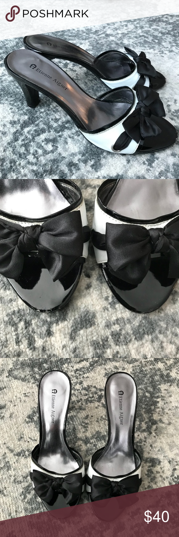 ETIENNE AIGNER black and white bow pumps 7 Wedding shoes