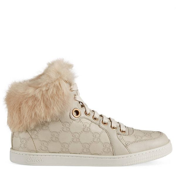 hot sale online f527b 69bda Gucci Fur-Trim High-Top Sneaker (615) ❤ liked on Polyvore featuring shoes,  sneakers, white, women, leather flats, white leather flats, flat shoes, ...