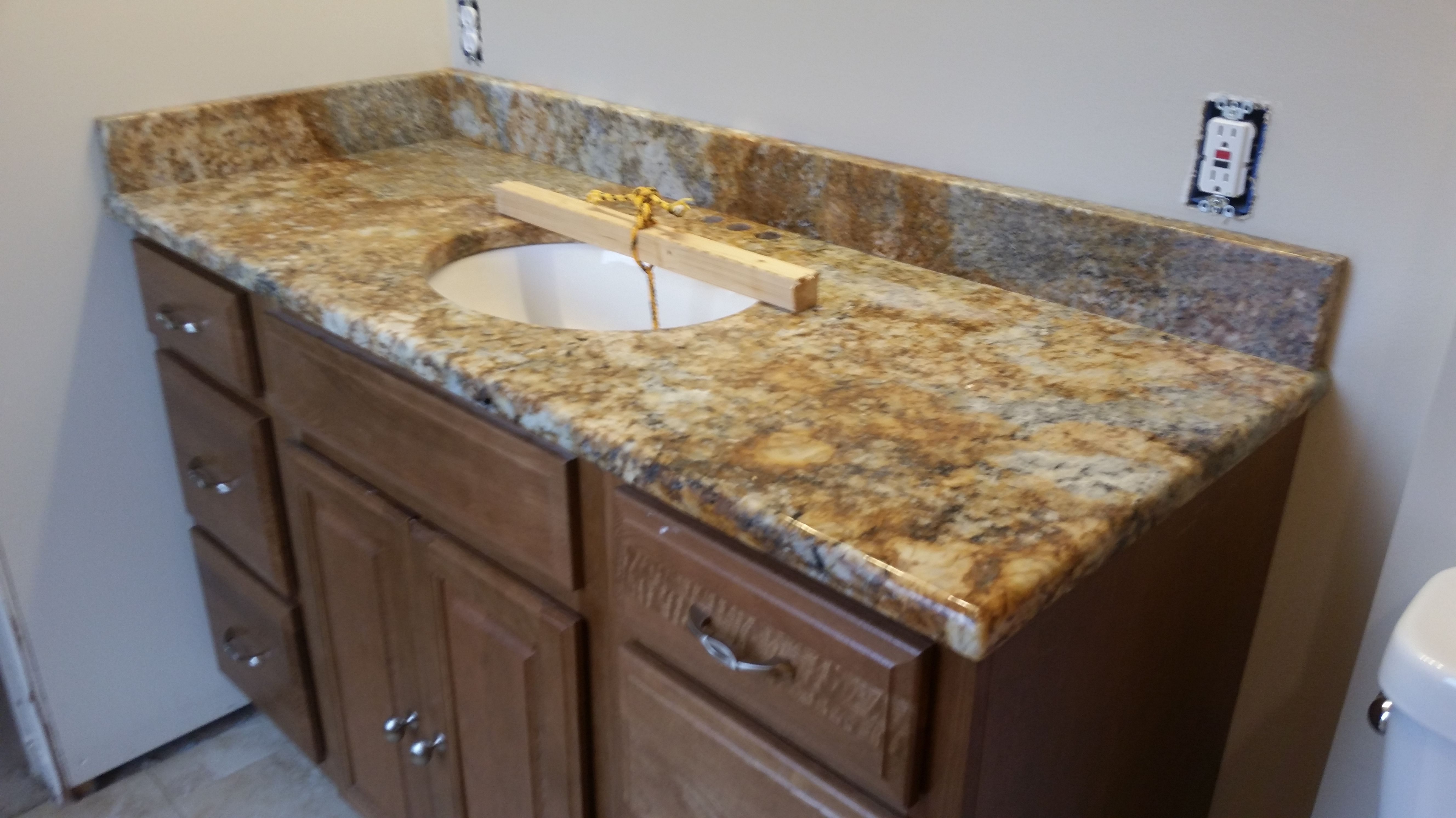 Bathroom Vanity Knoxville Tn gerbia gold granite bathroom vanity install for the parker family