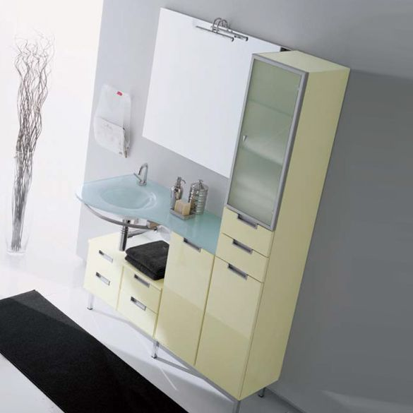 Wall-mounted vanity unit with cabinets COMPOS 15 Compos Collection by LASA IDEA