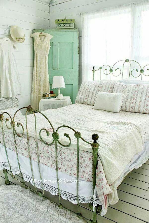 Sage Green Iron Bed Frame Shabby Bedroom Bedroom Vintage