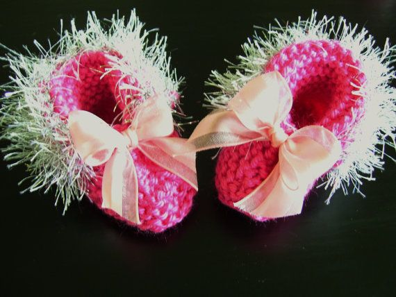 Silver Trimmed Delicate Bright Pink Handmade Baby by JCACreation, $10.00