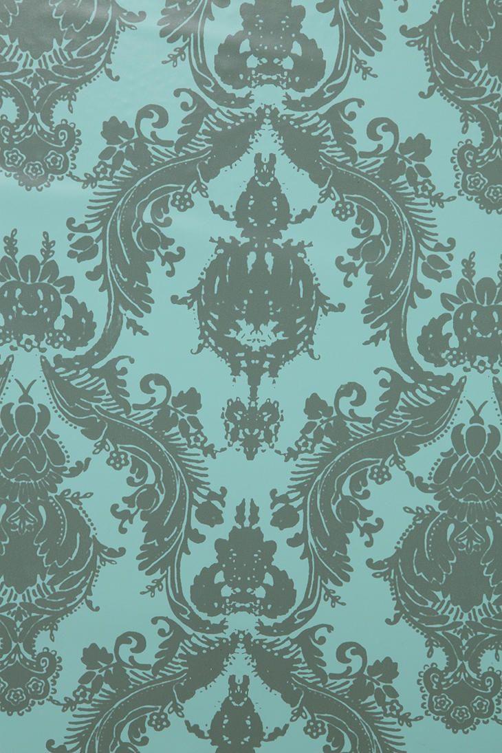 Damsel Wallpaper Aqua Grey Grey Wallpaper Accent