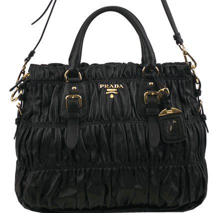 Prada BN1336 Handbag Gauffre Black Leather « Clothing Impulse