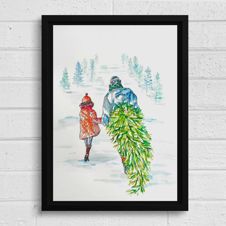Father And Daughter Christmas Tree Memories Printable