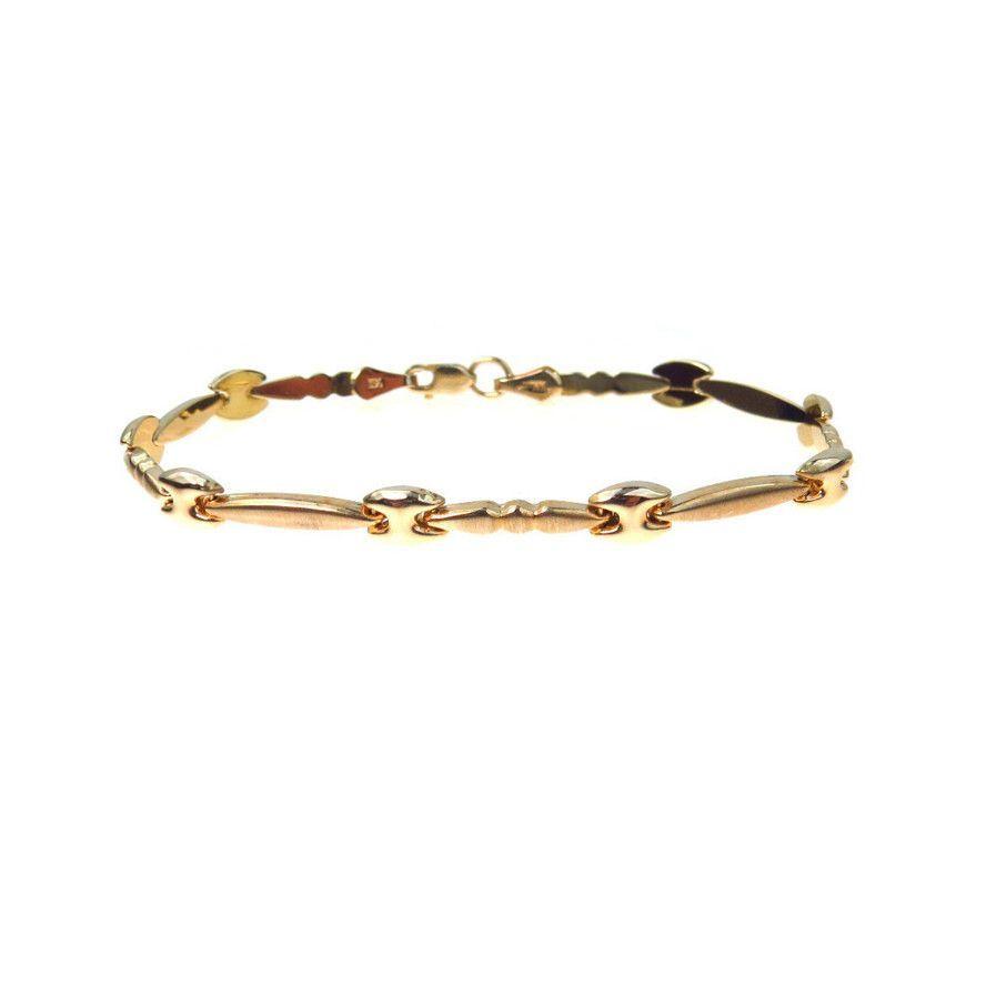 Fancy Puffy Link Bracelet Florentine Gold