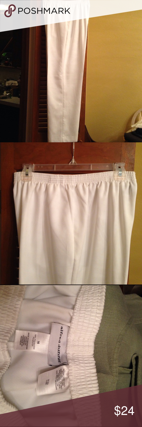 Alfred Dunner White slacks EUC lovely white slacks.  Size 16.  30 inseam.  100% polyester. Alfred Dunner Pants #whiteslacks Alfred Dunner White slacks EUC lovely white slacks.  Size 16.  30 inseam.  100% polyester. Alfred Dunner Pants #whiteslacks