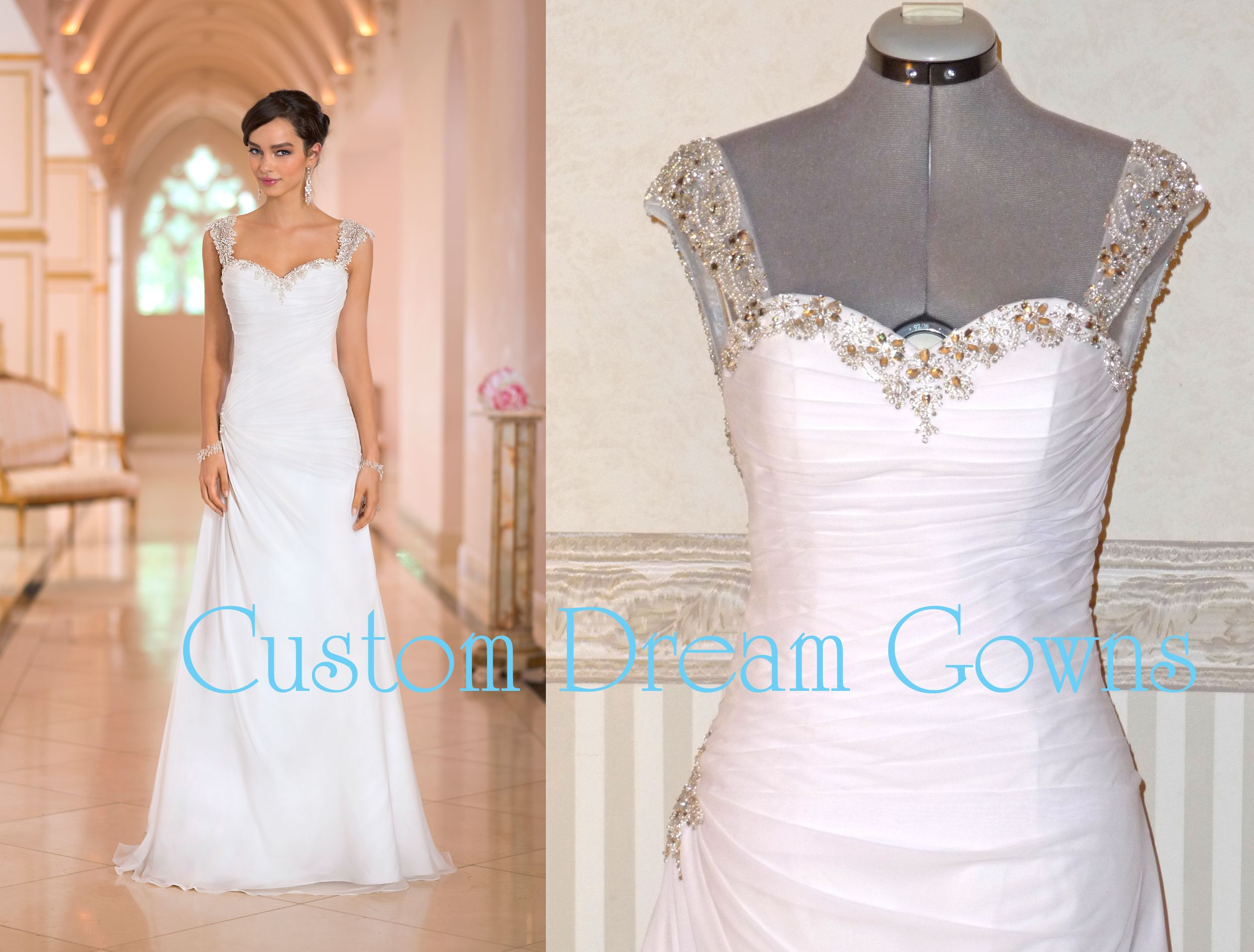 Crystal Beaded Sweetheart Neckline and Shoulder Straps, Ruched Pleated Bodice with Side Swirl of Pleated Draping Accented with Crystal Beading, Chiffon A-Line Skirt, Court Train, Crystal Beaded Low Back with Crystal Buttons Over Hidden Zipper Closure. #Customweddingdress #customweddinggown #customdress #crystals #bling #gorgeous #weddingdress #weddinggown #aline #chiffon
