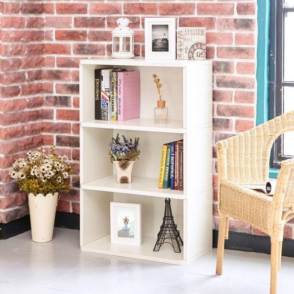 3 Shelf Bookcase Organizer Eco Bookshelf And Storage Unit Ivory White
