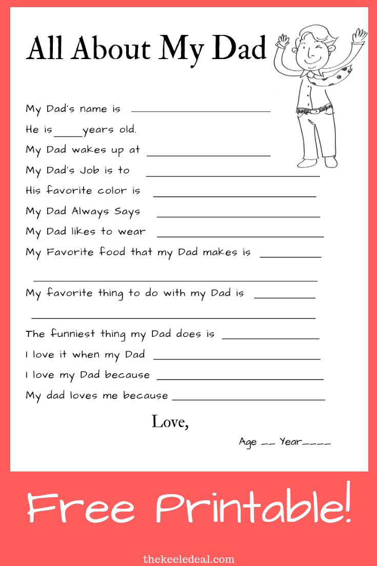 All About My Dad Free Printable Kidsactivities Fathersday Holiday Dad Printable Dad Crafts Father S Day Diy