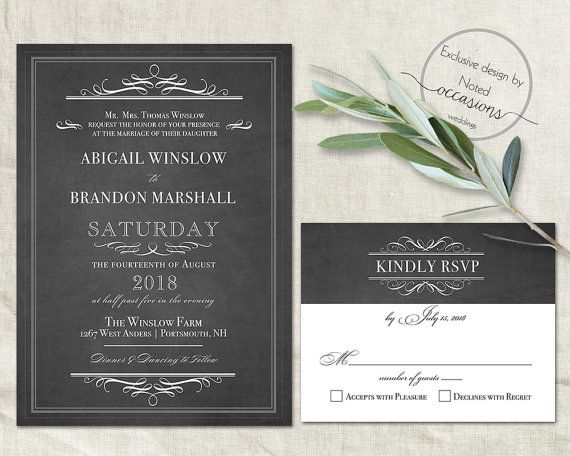 Chalkboard Wedding Invitation Template Industrial Chic Wedding
