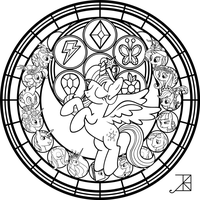 Commish Princess Twilight Stainedglass Line Art By