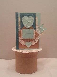 Stampin Up! Cards, Hearts w/h Browns and shades of colorful of Blues