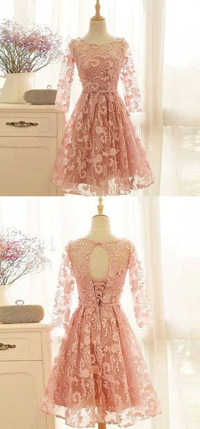 Romantic homecoming dress long sleeve homecoming dresslace