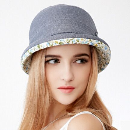 Ladies sun hats with floral bow bowler bucket hat UV protection Sun Hats  For Women 33a9be966fa