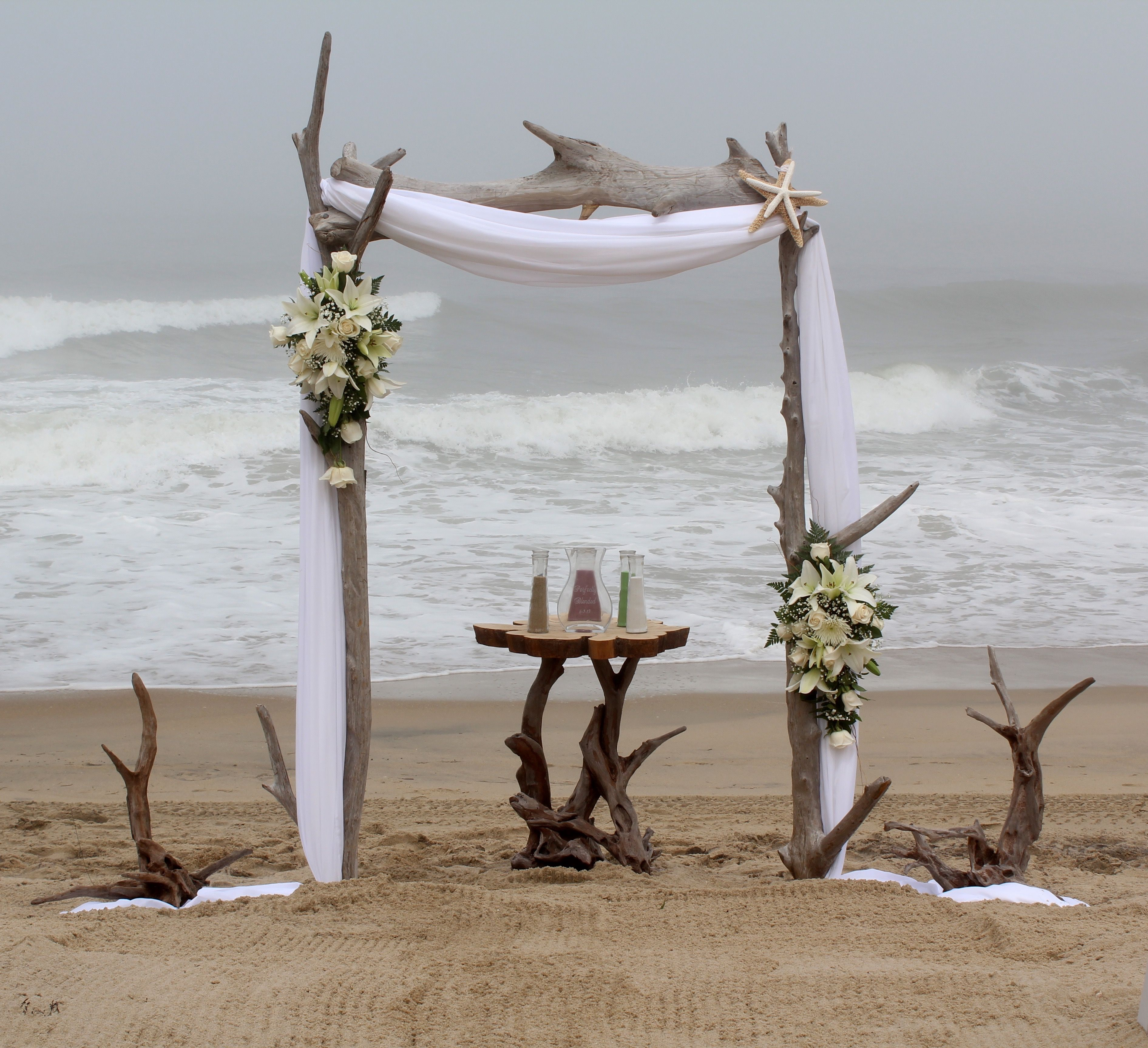 Beach Wedding Arch Ideas: Standard Driftwood Arch With Added Driftwood Accents And
