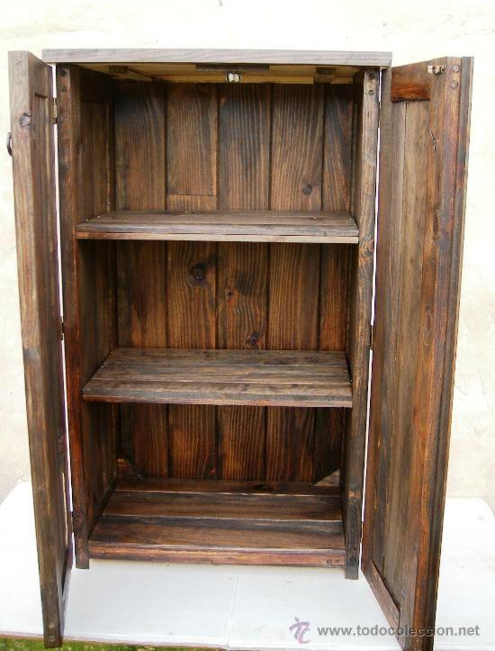 Vintage: mueble de madera rustico , alacena color nogal , con dos ...