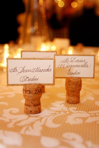 Champagne Or Wine Cork Place Cardslove For A Pairing Dinner