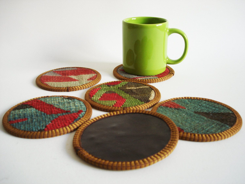 Sukan / Hand Woven - Turkish Antique Kilim Cups Coasters - 6 pcs. $36.00, via Etsy.