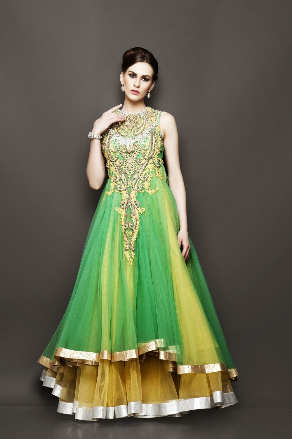 Indo western wedding dress for women  Love da hand work done in this dress  Asian bridal wear  Pinterest