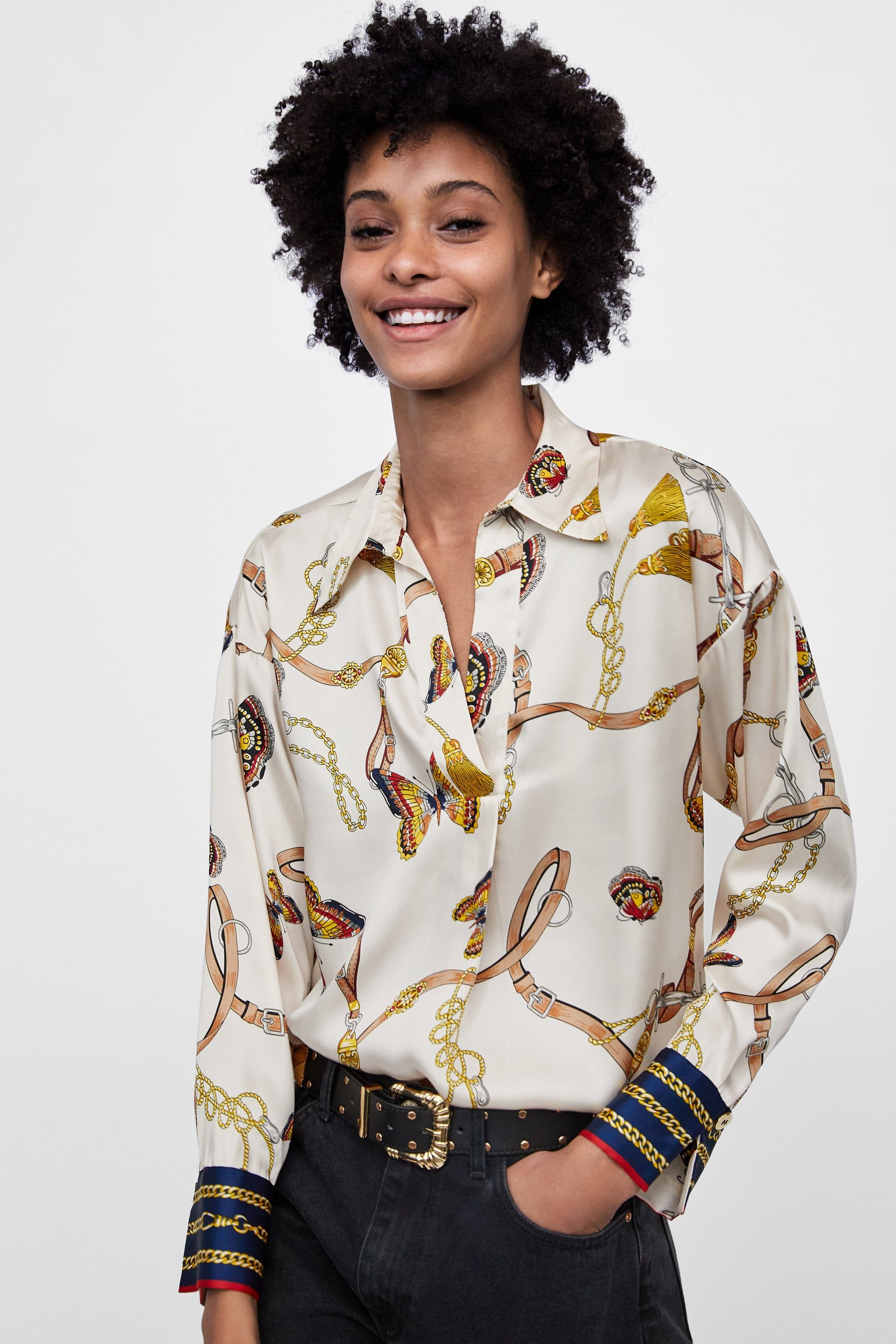 3502abe6 CHAIN PRINT BLOUSE from Zara | { in the closet } in 2019 | Blouse ...
