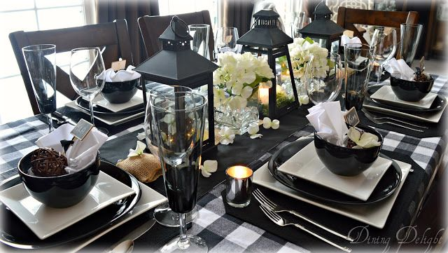 Black Lanterns Buffalo Check Tablescape White Table Settings Table Settings Everyday Dining Room Table Decor