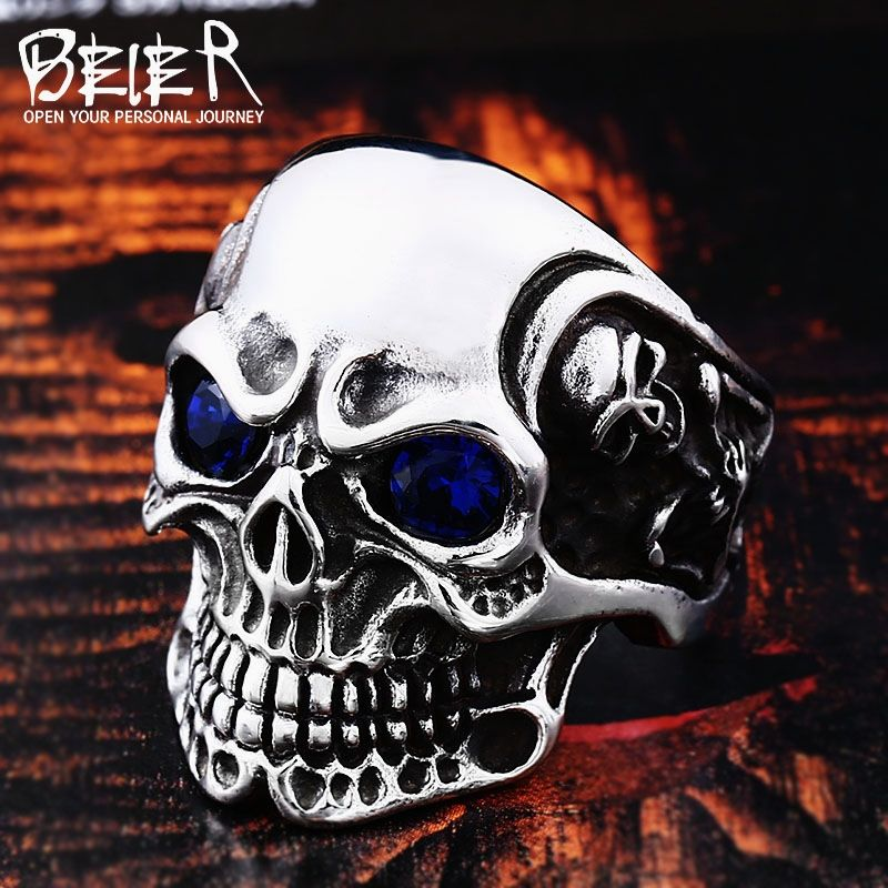 19158d920ea7 Stainless Steel men Gothic Carving kapala Skull Ring with red blue eye rock  personality biker