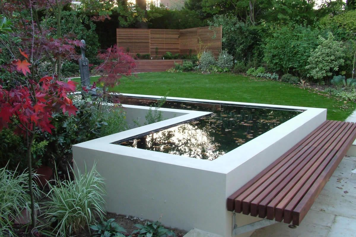 borders, screens, raised pond but to be used for herb garden