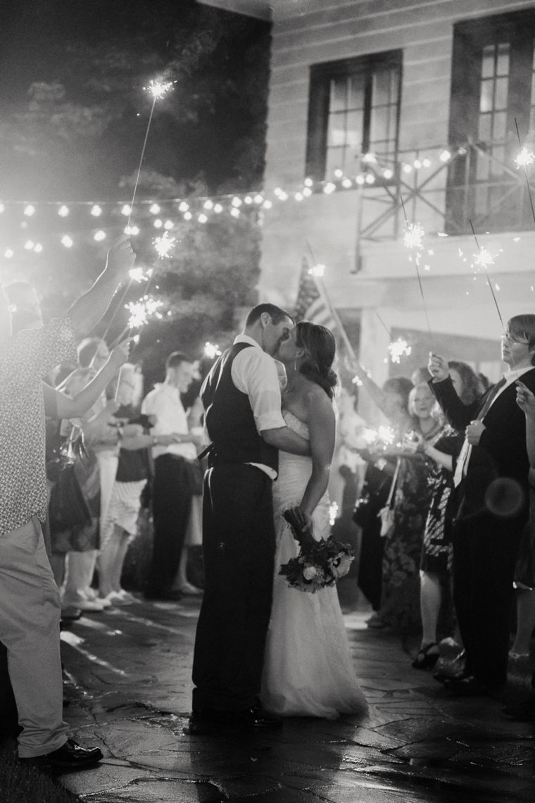 A sparkler-filled send off is always classy and elegant.