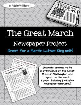 Black History Martin Luther King Jr Writing Activity The Great
