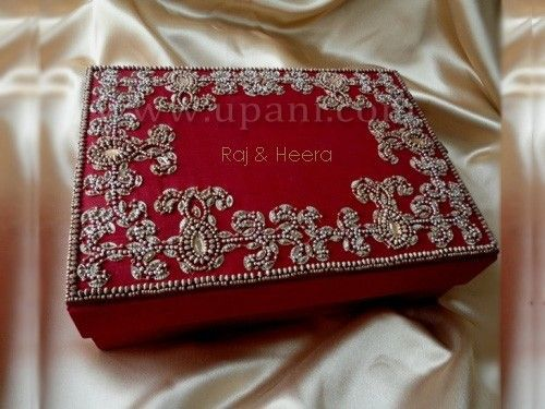 Red And Gold Embroidered Silk Invitation Box