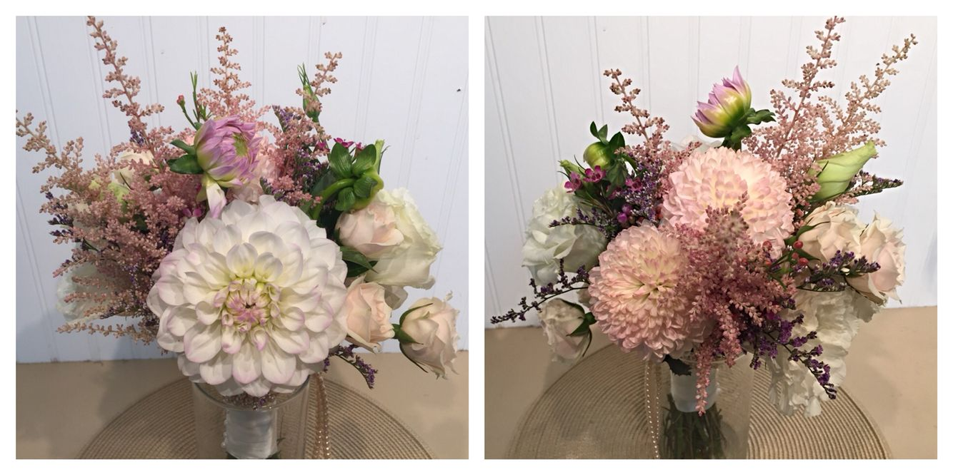 A Wildflower Bouquet With Astilbe Lisianthus And A Dahlia From Twigs Vines Floral Wildflower Bouquet Floral Wreath Floral