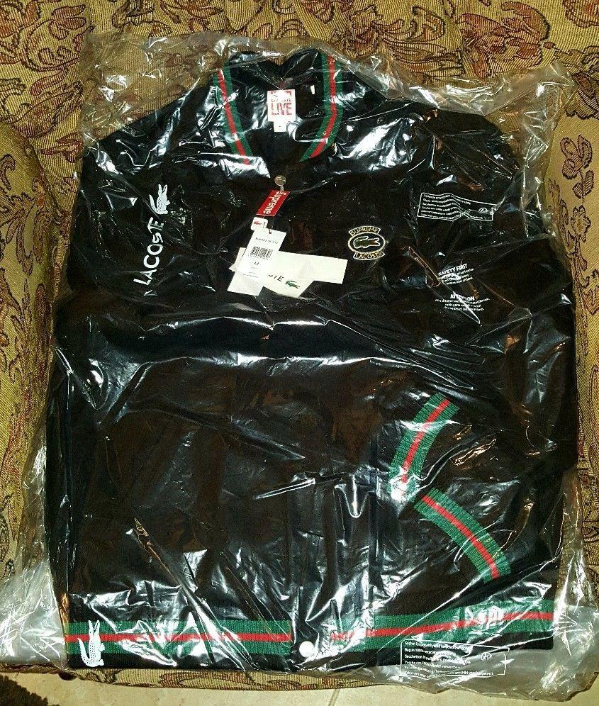 Supreme Lacoste Wool Varsity Jacket Black M Medium Ss18 In Hand