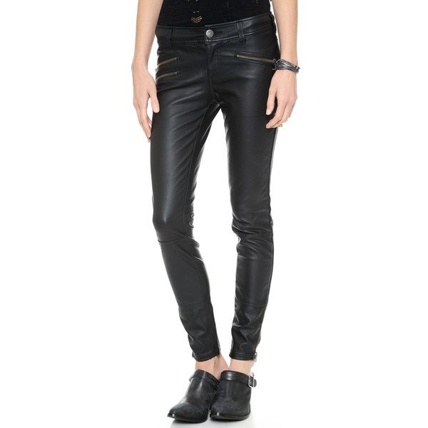 9099a136a12d0 Free People Vegan Skinny Pants - Black ($64) found on Polyvore featuring  pants, black trousers, free people, black zipper pants, slim black pants  and black ...