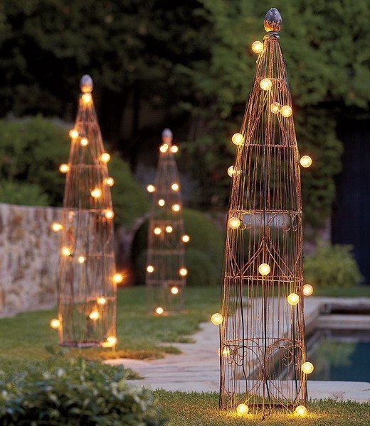 Led Lights For Backyard Pool Or Patio Lighting Effects This Photo Shows White Led Lights Looks Like C7 Or C9 Lights Which Are More Com Outdoor Garden Lighting Garden Trellis Backyard