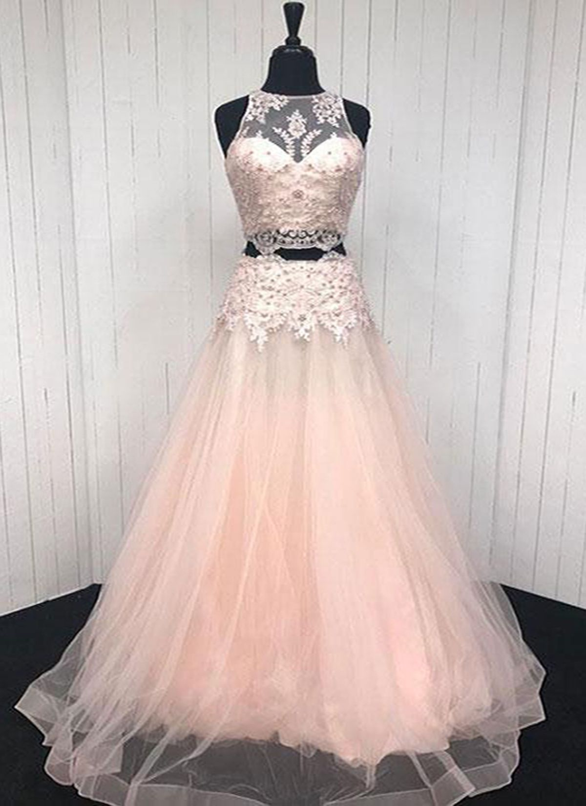 Elegant pink v tulle two piece long prom dress pink lace appliqué