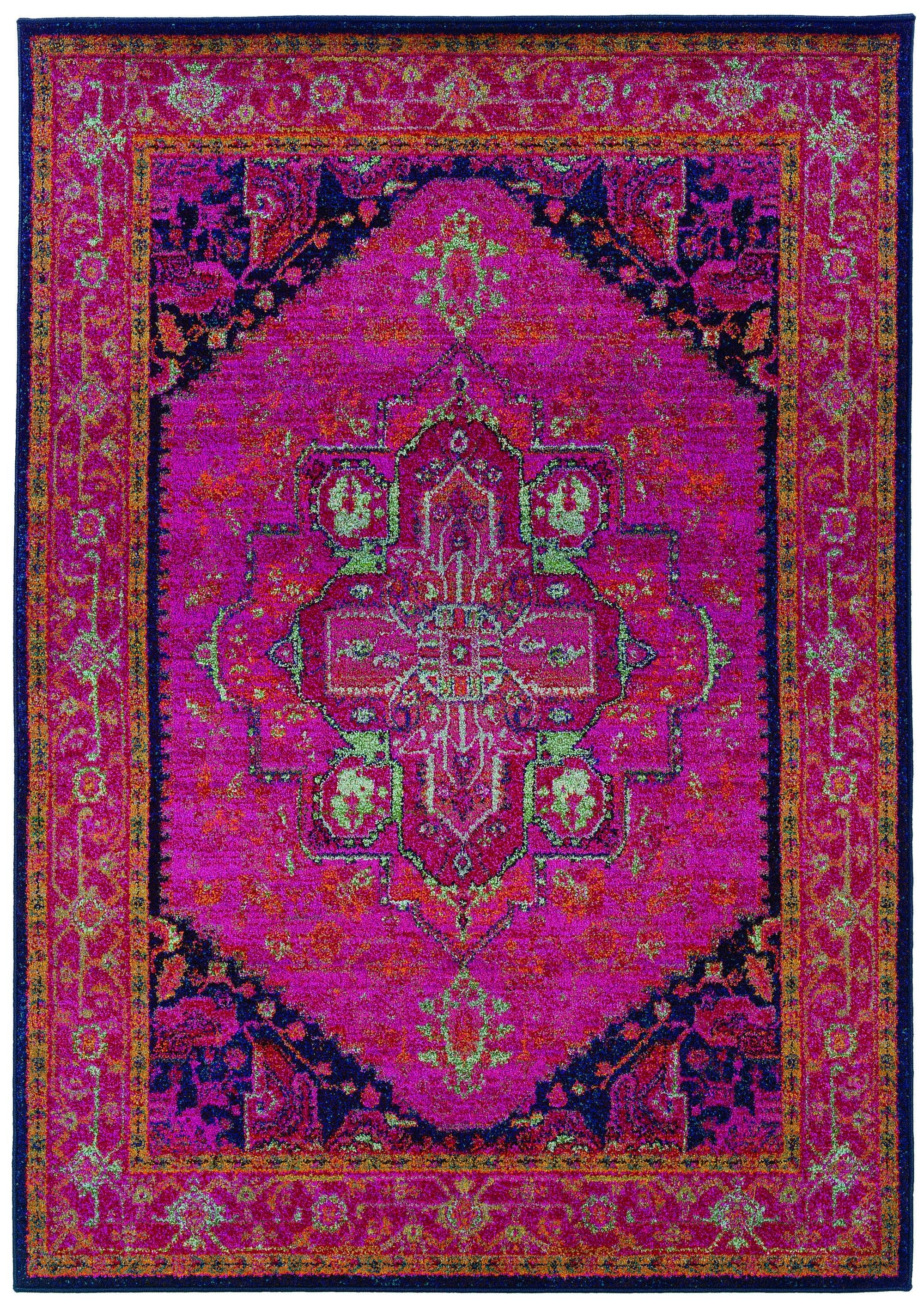 Traditional Oriental Rug, Machine Woven Pink Navy Polypropylene Runner  Option