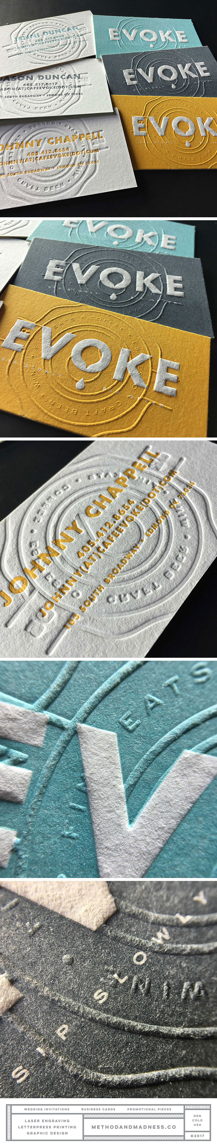 Embossed business cards with solid letterpress flood design by embossed business cards with solid letterpress flood design by foundry co reheart Choice Image