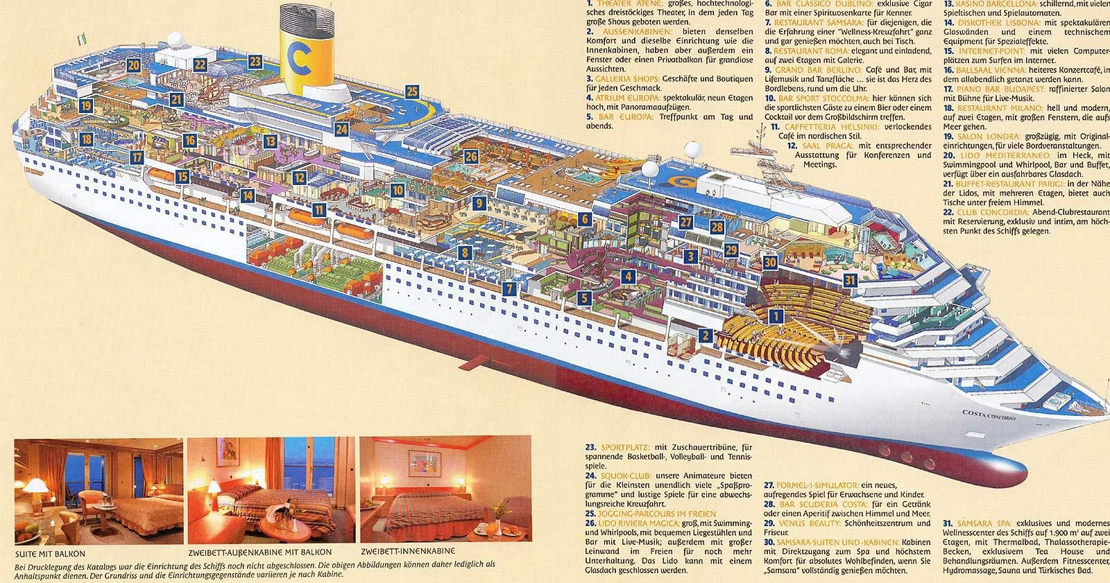 Costa Concordia Layout Italian Cruises Costa Concordia Disaster Majesty Of The Seas